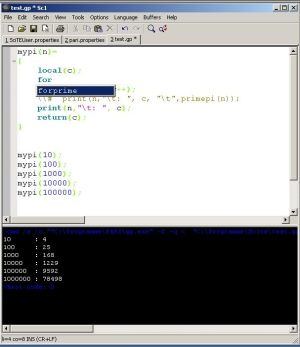 Pari/GP-Mode for the Text Editor SciTE